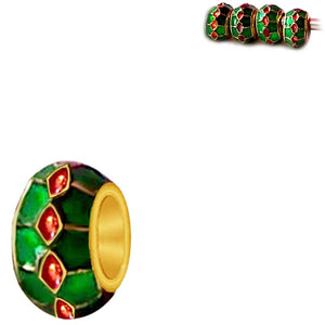 European 1 gold metal green red enamel holiday-theme colors spacer bead
