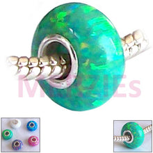 Load image into Gallery viewer, European 1 Sterling Silver Green OPAL Lab bead .925 14x7mm charm large hole - great flash