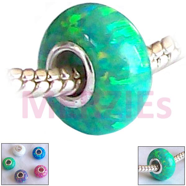 European 1 Sterling Silver Green OPAL Lab bead .925 14x7mm charm large hole - great flash