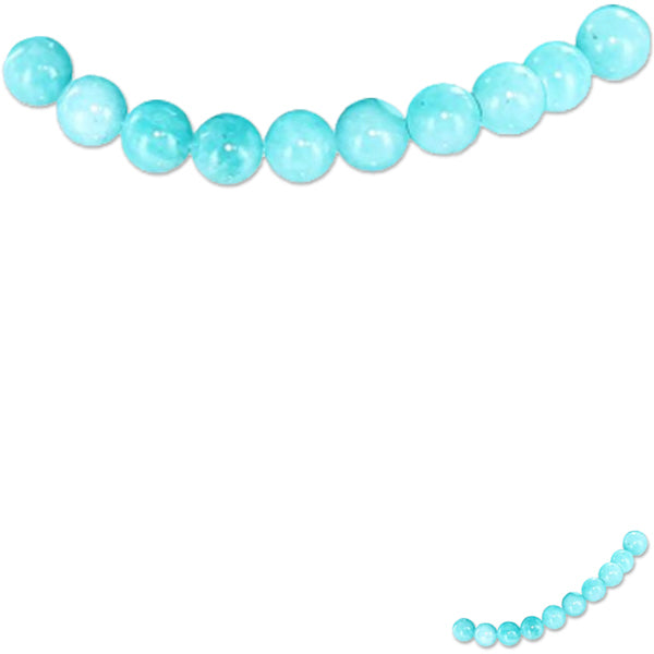 Rare Amazonite Peru round 7-8mm Blue hand-cut smooth stone - 10 beads