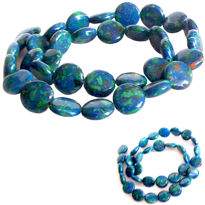 Rare Azurite-Malachite coin 12mm blue green stone - 2 beads
