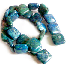 Load image into Gallery viewer, Rare Azurite square 10mm peaceful blue green stone - 5 beads