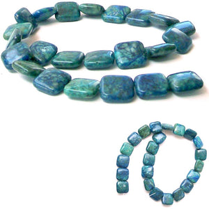 Rare Azurite square 10mm peaceful blue green stone - 5 beads
