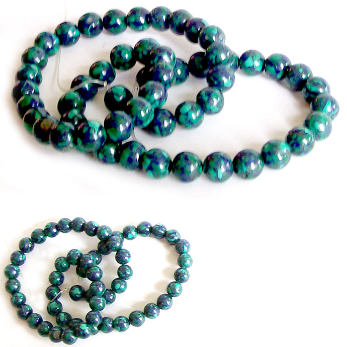 Rare Azurite-Malachite round 6-7mm blue green stone - 6 beads
