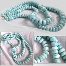 Load image into Gallery viewer, Rare Larimar Dominican sterling silver & natural blue white ~10-17mm graduated rondelle beads necklace