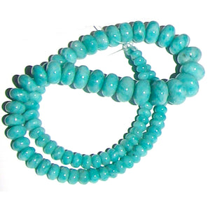Rare Amazonite Peru rondelles ~11-11.3mm AAA Blue hand-cut stone set #11 - 4 beads