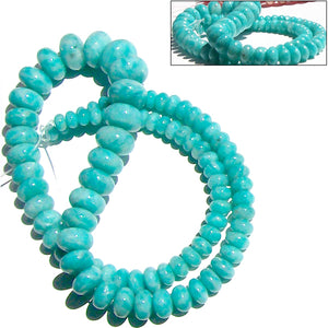 Rare Amazonite Peru rondelles ~9.5-10mm AAA Blue hand-cut stone set #9 - 5 beads