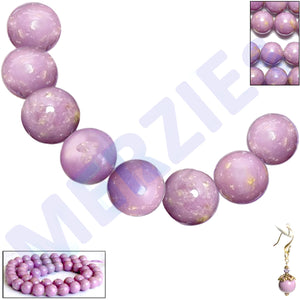 Rare Phosphosiderite Chile round orchid mauve 7-8mm AB stone - 6 beads