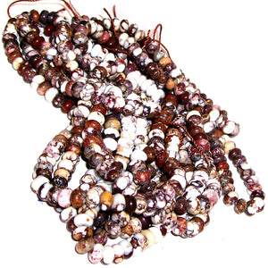 Rare Wild Horse Magnesite Arizona rondelles ~6mm brown white pinto stone beads - U PICK