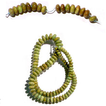 Load image into Gallery viewer, Rare Gaspeite Australian rondelles ~9.5-10.1mm | hand-cut genuine natural green brown stone | set 22 -6 beads