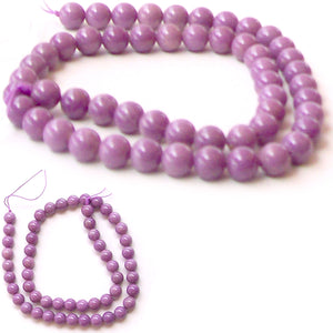Rare Phosphosiderite Chile round orchid mauve 7-8mm AA stone - 6 beads