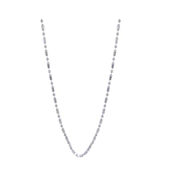 Chain: Silver-plated Bead and Bar chain ~17-18