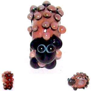 1 OOAK European MAUVE & BLACK LAMB lampwork glass bead | artisan-made animal sheep glass charm