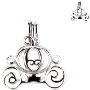 Sterling silver oyster pearl/bead Cage CARRIAGE fantasy hallmarked .925 pendant