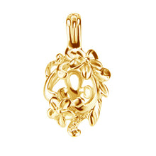 Load image into Gallery viewer, Sterling silver 14k gold-plated oyster pearl/bead Cage FLORAL WRAP .925 pendant