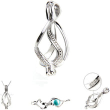 Load image into Gallery viewer, Sterling silver oyster pearl/bead Cage ribbon key twist .925 pendant - U PICK