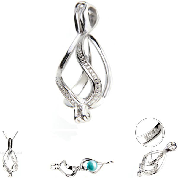 Sterling silver oyster pearl/bead Cage ribbon key twist .925 pendant - U PICK