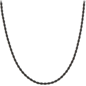 "Chain: Black Gunmetal Rope ~16.5"" +~3.5"" extender jewelry ~1.2mm metal lobster clasp necklace"