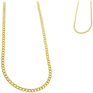 Chain: Gold-plated Curb jewelry ~2mm metal lobster clasp necklace