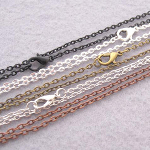 "Chain: Silver-plated Cable ~26"" jewelry 2mm metal lobster clasp necklace"