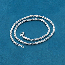 "Load image into Gallery viewer, Chain: Silver-plated Rope ~20"" jewelry ~2mm metal lobster clasp necklace"