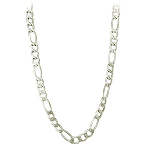 "Chain: Silver-plated Figaroa ~19-20"" jewelry ~4mm metal lobster clasp necklace"