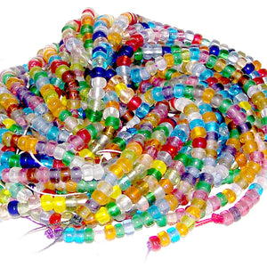 CROW beads 50 transparent glass ~5-6mm pony roller large 1mm+/- holes fits beadable