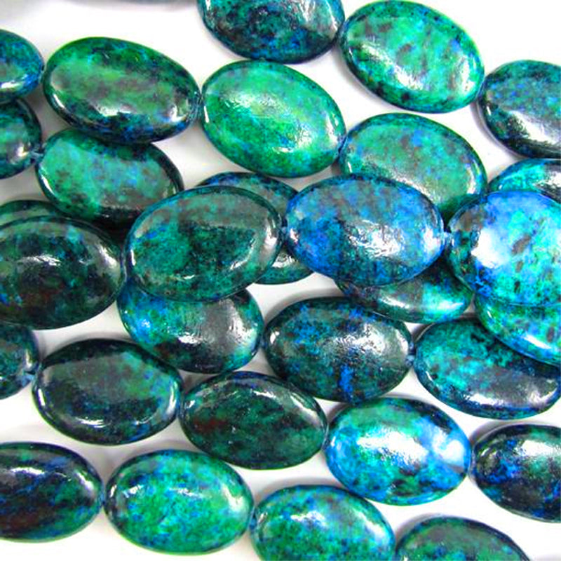 Rare Chrysocolla oval 18x20mm Chinese Dyed green blue stone - 3 beads