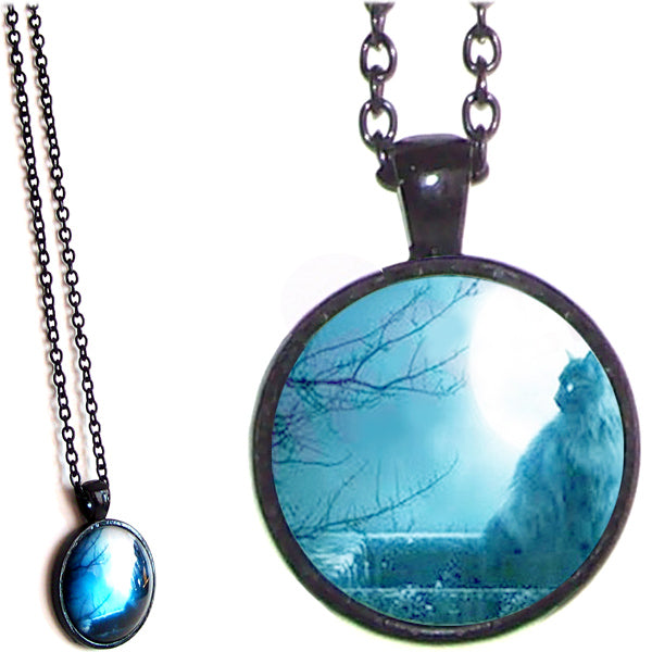 Black glass dome Cat sitting in Window round animal pendant & lobster clasp chain