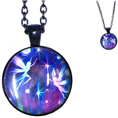 Black glass dome Fairies fantasy flowers purple pendant & lobster clasp chain