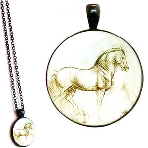 Black glass dome Horse Artist Sketch animal equine pendant & lobster clasp chain
