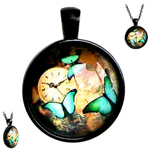 Black glass dome Clock Woods Butterflies blue insect pendant & lobster clasp chain
