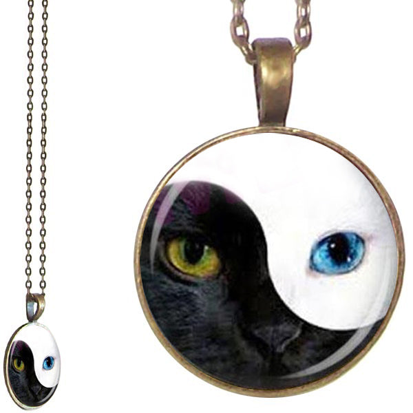 Bronze glass dome CAT Ying Yang eyes face black white blue animal round pendant & lobster clasp chain
