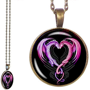 Bronze glass dome Dragons Heart design bright artistic round pendant & lobster clasp chain