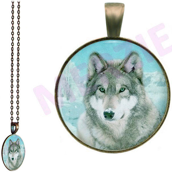 Bronze glass dome Wolf Head grey gray wild animal round pendant & lobster clasp chain