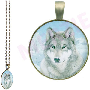 Bronze glass dome Wolf Head grey gray light wild animal round pendant & lobster clasp chain
