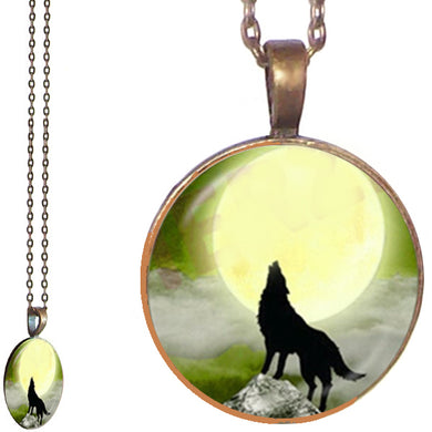 Bronze glass dome Howling Wolf black sitting wild animal yellow round pendant & lobster clasp chain