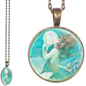 Bronze glass dome Mermaid ocean sea fantasy mystical round pendant & lobster clasp chain