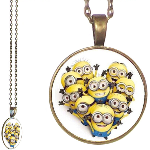 Bronze glass dome Minions yellow fantasy cartoon round pendant & lobster clasp chain