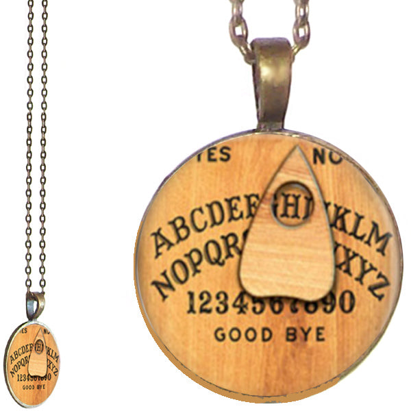 Bronze glass dome Ouija Board game round pendant & lobster clasp chain