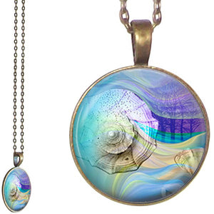Silver glass dome Sea Snail Slug beach sand dirt pendant & lobster clasp chain