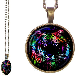 Bronze glass dome Tiger face design bright artistic round pendant & lobster clasp chain