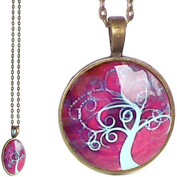 Bronze glass dome Tree of Life burgundy pink round pendant & lobster clasp chain