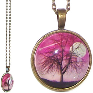 Bronze glass dome Tree of Life Moon Pink round animal pendant & lobster clasp chain