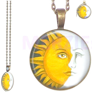 Bronze glass dome Sun Moon face round pendant & lobster clasp chain