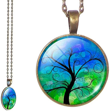 Bronze glass dome Tree of Life green yellow round pendant & lobster clasp chain