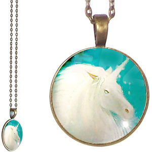 Bronze glass dome Unicorn white fantasy blue horn horse round pendant & lobster clasp chain