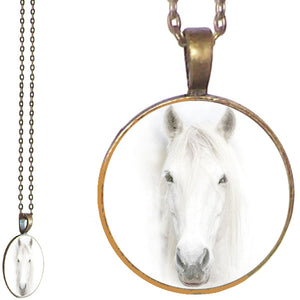 Bronze glass dome Horsehead horse head white animal yellow round pendant & lobster clasp chain