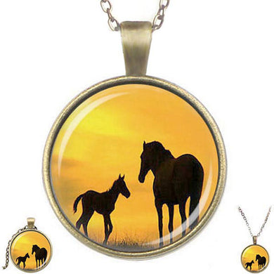 Bronze glass dome Horses sunset mare foal animals round pendant & lobster clasp chain