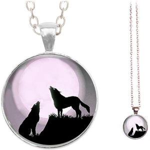 Silver glass dome Howling Wolves black wolf wild animal round pendant & lobster clasp chain